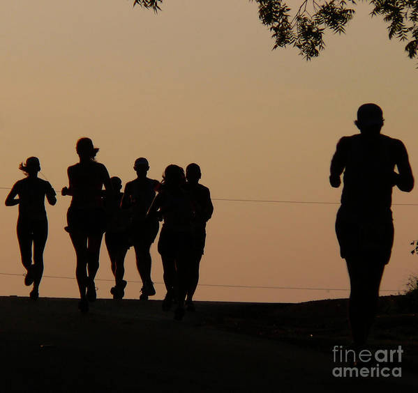 Running Print featuring the photograph Running by Angela Wright