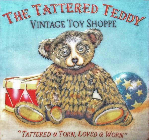 Toy Print featuring the digital art Tattered Teddy Toy Shop Sign Print by Randy Steele