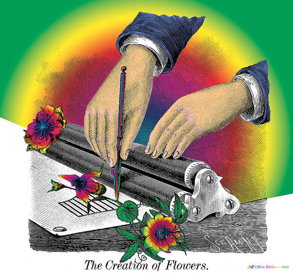 Flowers Print featuring the digital art The Creation Of Flowers by Eric Edelman