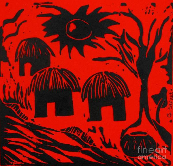 Lino Print featuring the relief African Huts Red by Caroline Street