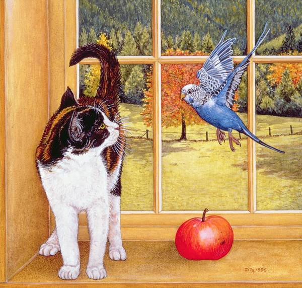 Cat Print featuring the painting Bird Watching by Ditz
