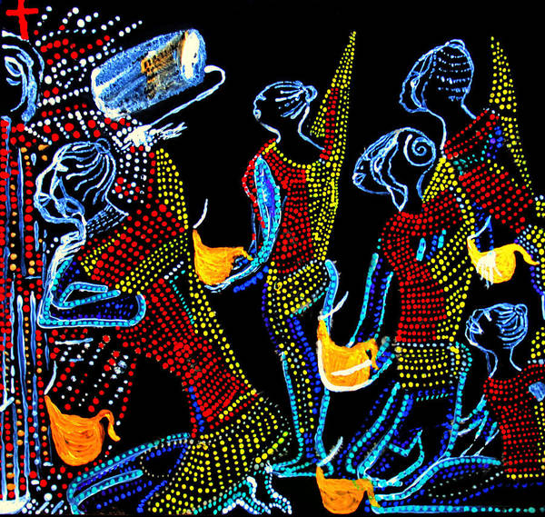 Jesus Print featuring the painting Dinka Wise Virgins by Gloria Ssali