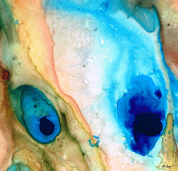 Blue Print featuring the painting Shoreline - Abstract Art By Sharon Cummings by Sharon Cummings