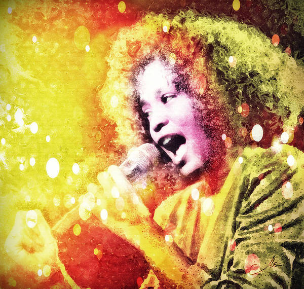 Whitney Houston Print featuring the digital art I Will Always Love You by Mo T