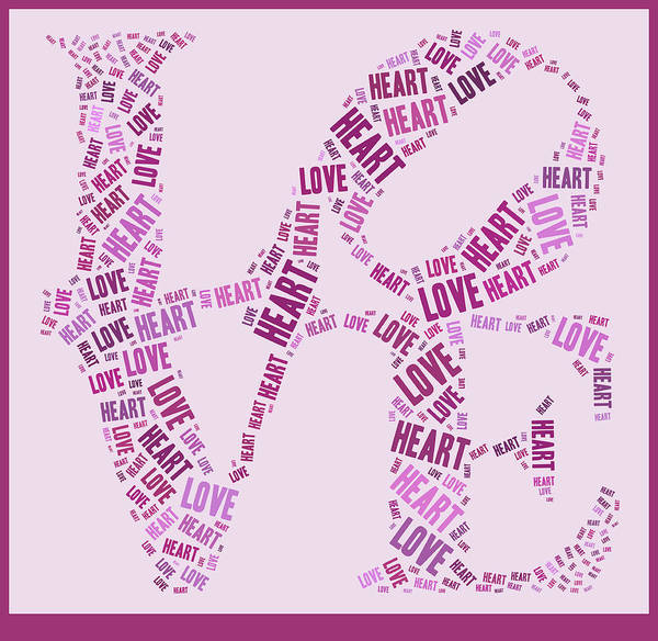 Pink Print featuring the digital art Love Quatro - Heart - S44b by Variance Collections