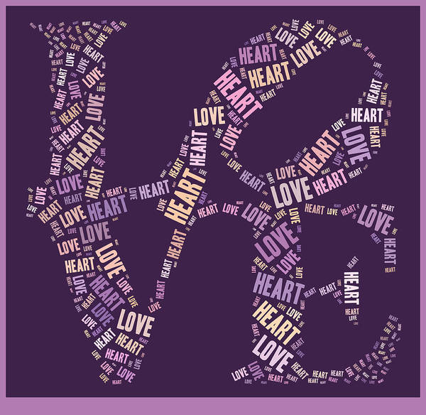 Purple Print featuring the digital art Love Quatro - Heart - S77a by Variance Collections