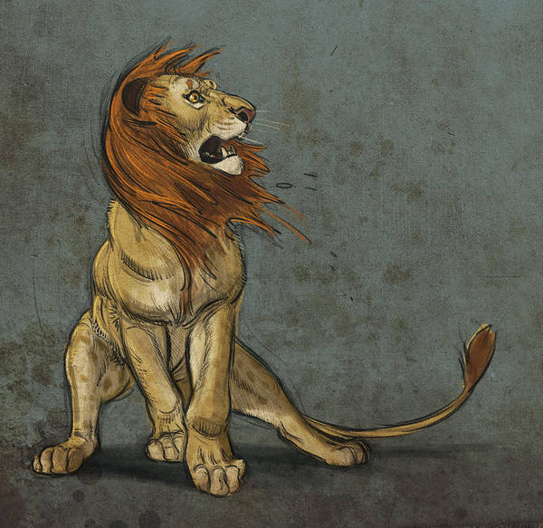 Lion Print featuring the digital art Threatened by Aaron Blaise