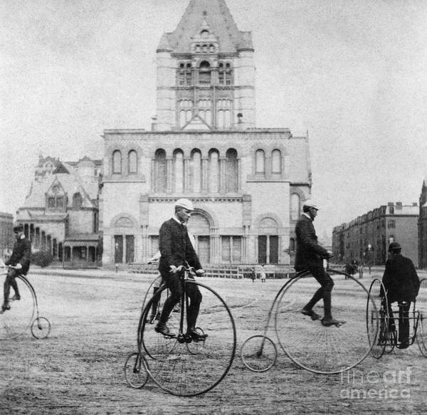 1880s Print featuring the photograph Bicycling, 1880s by Granger