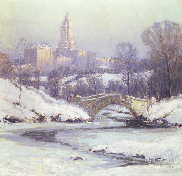 Winter Print featuring the painting Central Park by Colin Campbell Cooper