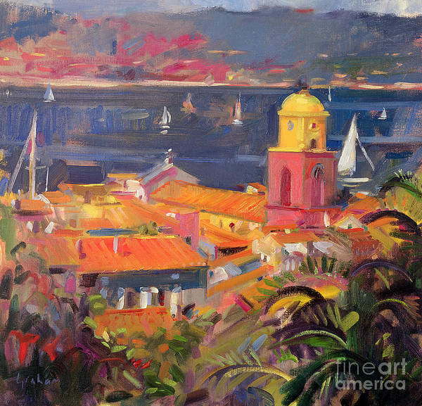 San Print featuring the painting St Tropez Sailing by Peter Graham