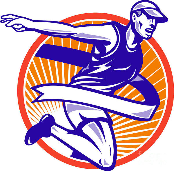 Marathon Print featuring the digital art Male Marathon Runner Running Retro Woodcut by Aloysius Patrimonio