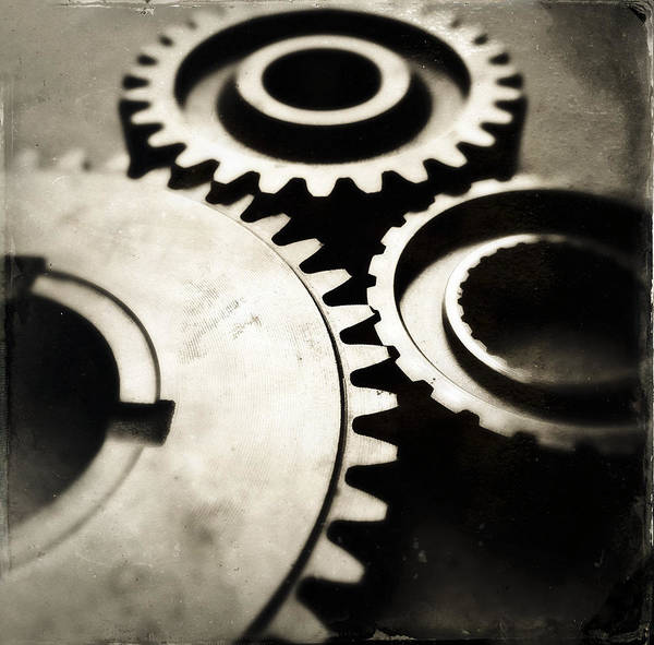 Three Print featuring the photograph Cogs by Les Cunliffe