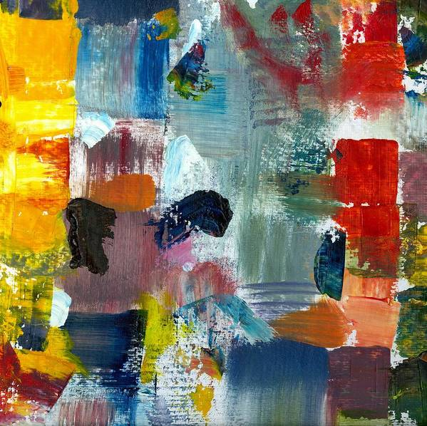 Abstract Collage Print featuring the painting Abstract Color Relationships Lv by Michelle Calkins
