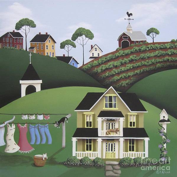 Art Print featuring the painting Cat Nap by Catherine Holman
