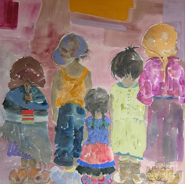Vicki Aisner Porter Print featuring the painting Comfort In Friends by Vicki Aisner Porter