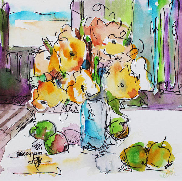 Flowers Print featuring the painting Flowers And Green Apples by Becky Kim