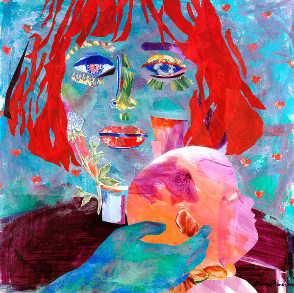 Flowers In The Eyes And Wallpaper Print featuring the mixed media Madonna And Child by Diane Fine
