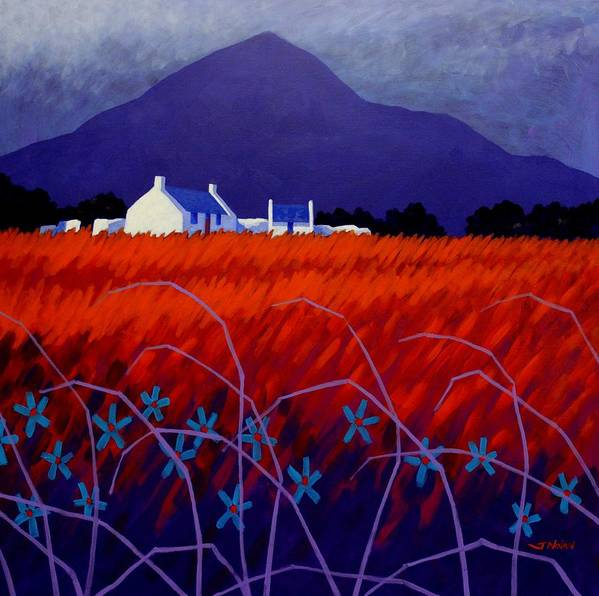 Landscape Print featuring the painting Mountain View by John Nolan
