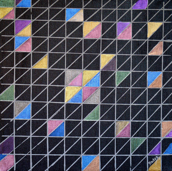 Geometric Print featuring the painting Off The Grid by Donna Blackhall