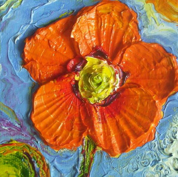 Orange Poppy Painting Print featuring the painting Orange Poppy II by Paris Wyatt Llanso