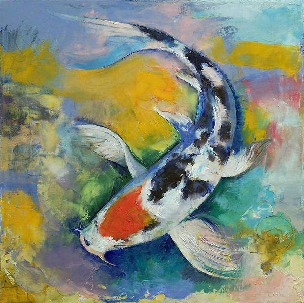 Tancho Print featuring the painting Tancho Sanke Koi by Michael Creese
