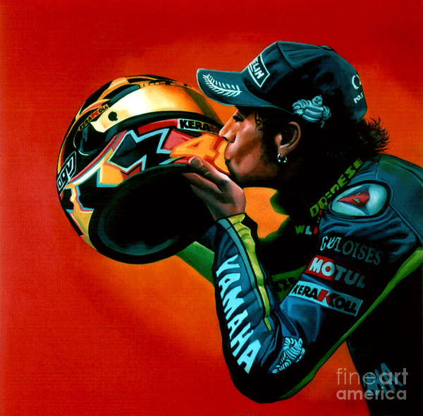 Valentino Rossi Print featuring the painting Valentino Rossi Portrait by Paul Meijering