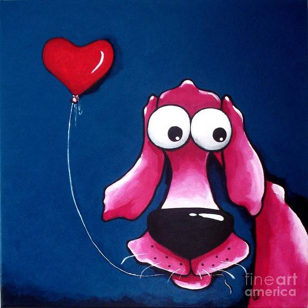 The Pink Dog Print featuring the painting You Have My Heart by Lucia Stewart