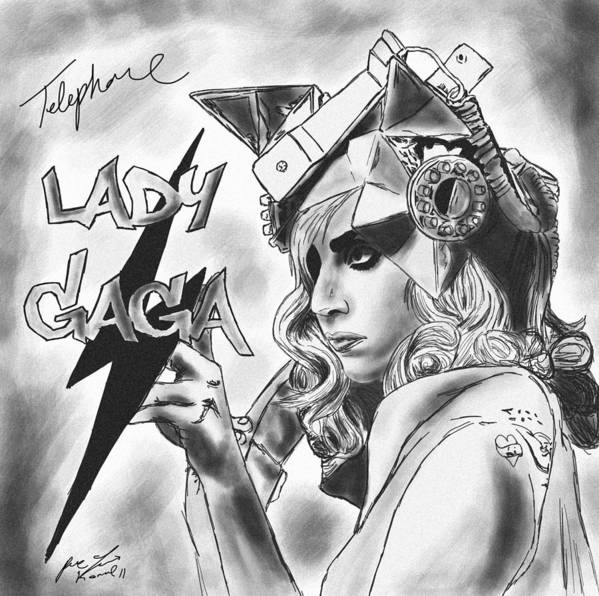 Lady Gaga Telephone Drawing Print featuring the drawing Lady Gaga Telephone Drawing by Pierre Louis