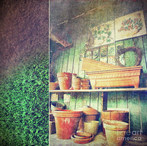 Basket Print featuring the photograph Lots Of Different Size Pots In The Shed by Sandra Cunningham