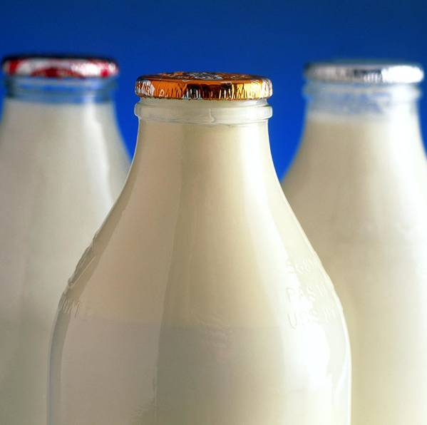 Milk Print featuring the photograph Tops Of Three Types Of Bottled Milk by Steve Horrell