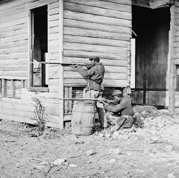 History Print featuring the photograph African American Soldiers Aim by Everett