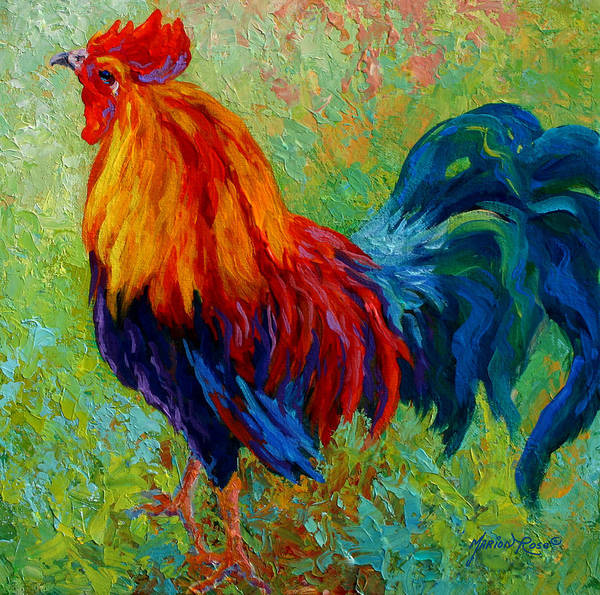 Rooster Print featuring the painting Band Of Gold - Rooster by Marion Rose