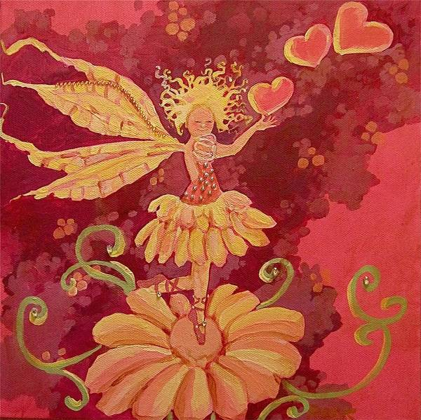 Fairy Hearts Pink Flower Print featuring the painting Candy 1 by Jackie Rock