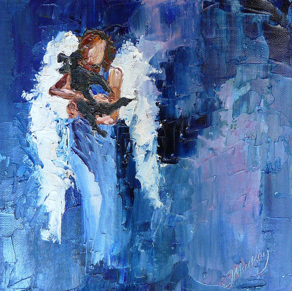 Angel Print featuring the painting Dogs Need Angels by Judy Mackey