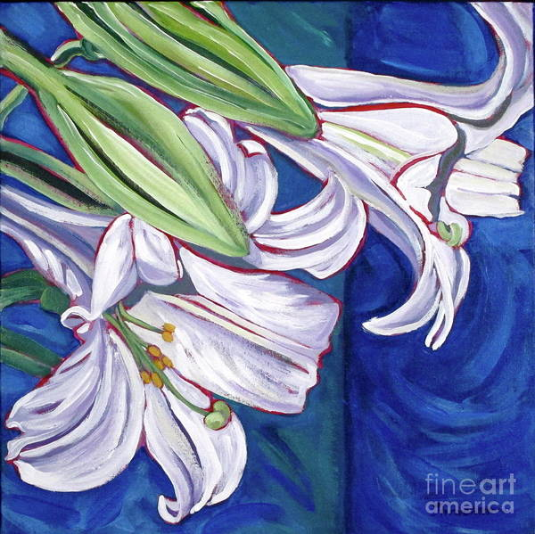 Lily Print featuring the painting Faith Lily Two by Dawn Thrasher