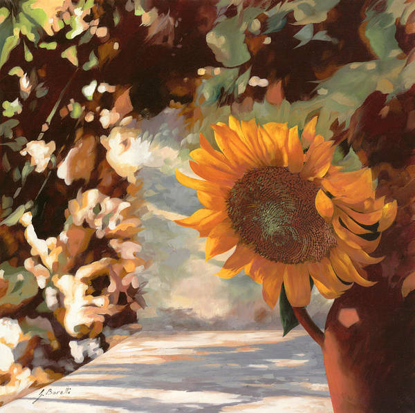 Sunflower.sunflowers Field Print featuring the painting Il Girasole by Guido Borelli