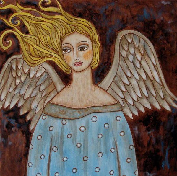Folk Art Paintings Paintings Print featuring the painting Jophiel by Rain Ririn