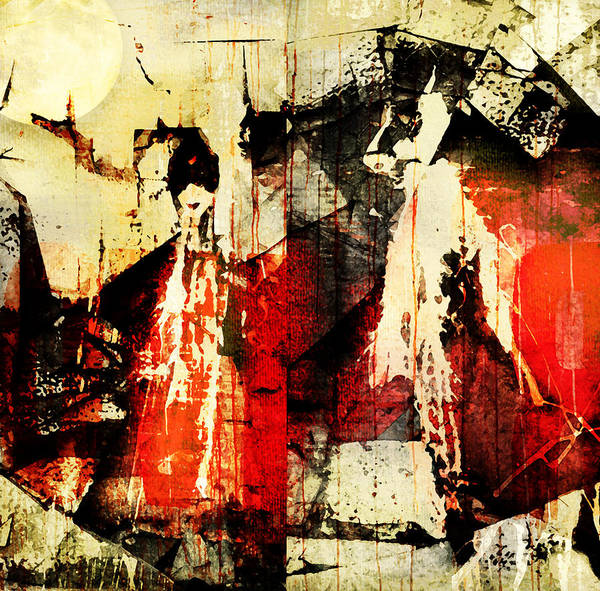 Abstract Print featuring the photograph Little Red Riding Hood And The Big Bad Wolf Under A Yellow Moon by Jeff Burgess