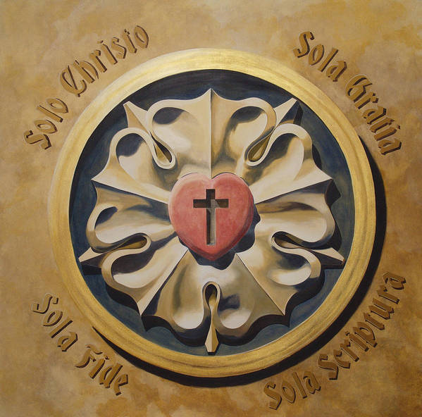 Jesus Print featuring the painting Luthers Rose Interpretation by Joyce Hutchinson