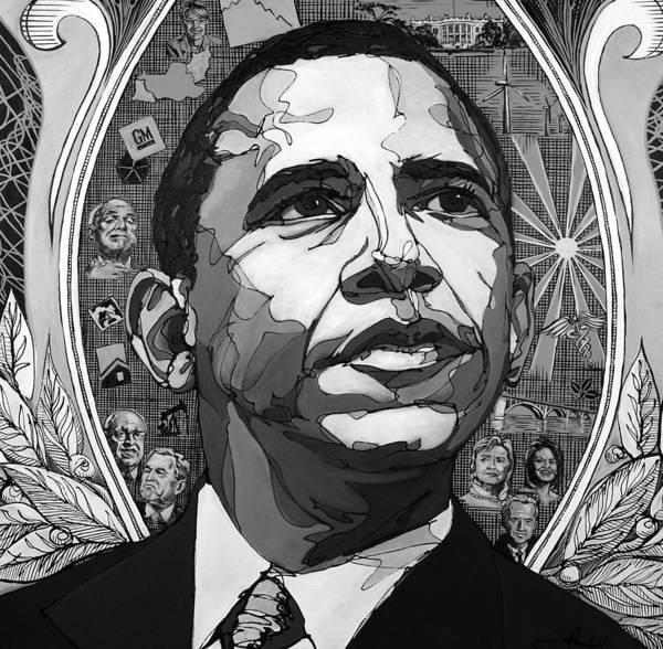 Barak Obama Print featuring the painting Portrait Of Barak Obama by John Gibbs