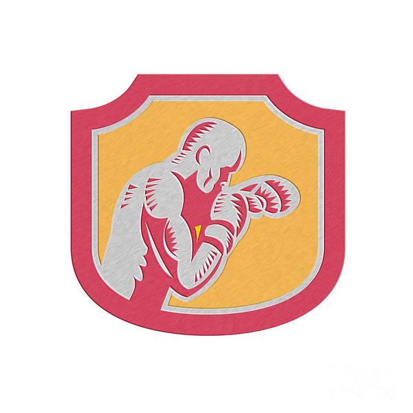 Metallic Print featuring the digital art Boxer Boxing Jabbing Punch Side Shield Retro by Aloysius Patrimonio