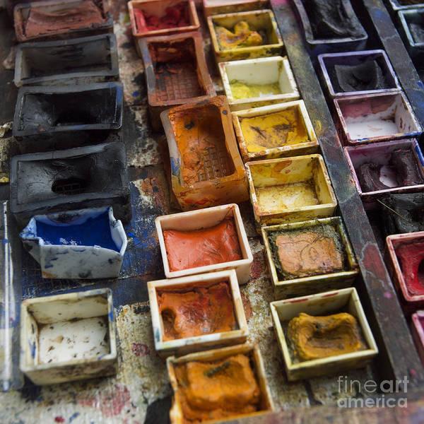 Indoors Print featuring the photograph Paint Box by Bernard Jaubert