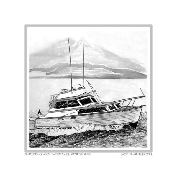 Yacht Portraits Print featuring the drawing 32 Foot Pacemaker Sportsfisher by Jack Pumphrey