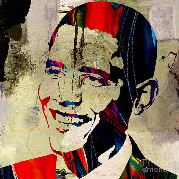 President Barack Obama Paintings Mixed Media Mixed Media Mixed Media Print featuring the mixed media Barack Obama by Marvin Blaine