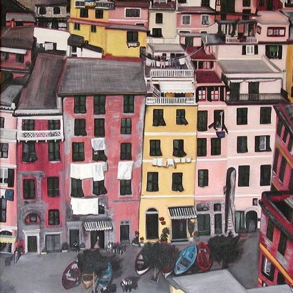 Vernazza Print featuring the painting A Bird's Eye View Of Cinque Terre by Quin Sweetman