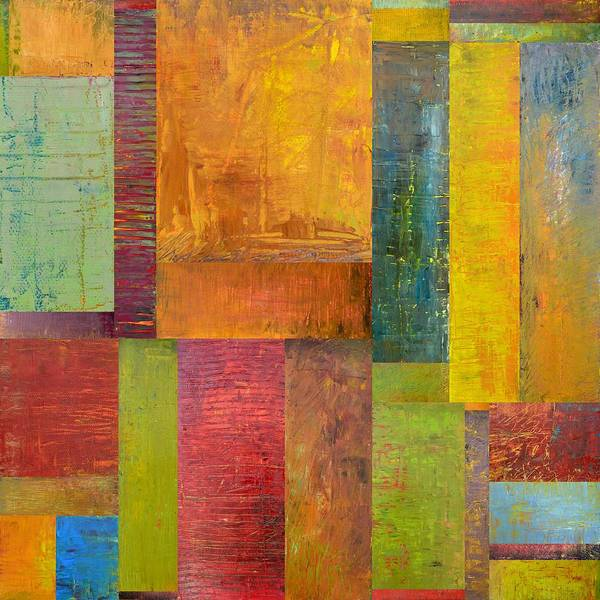 Textural Print featuring the painting Abstract Color Study Collage L by Michelle Calkins