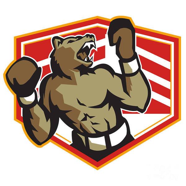 Bear Print featuring the digital art Angry Bear Boxer Boxing Retro by Aloysius Patrimonio