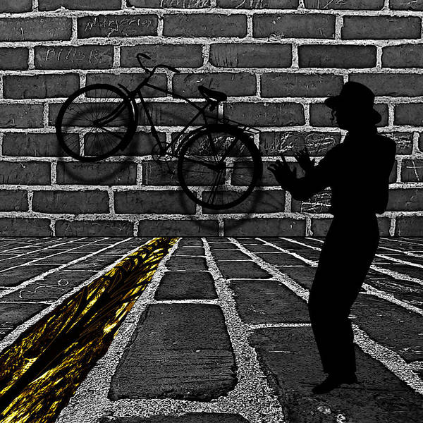 Story Art Print featuring the digital art Another Bike On The Wall by Barbara St Jean