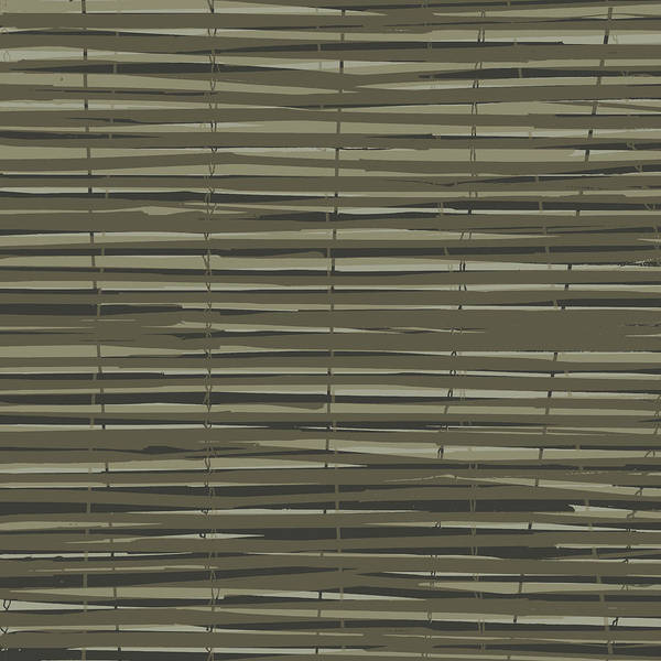 Pattern Print featuring the digital art Bamboo Fence - Gray And Beige by Saya Studios