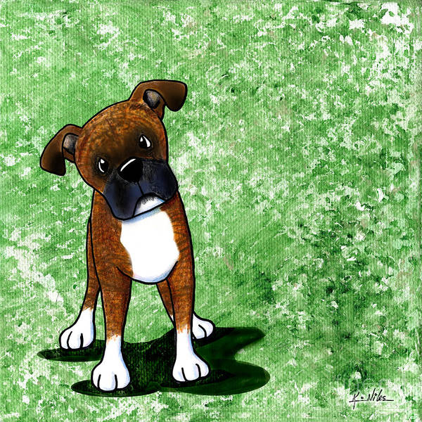 Brindle Boxer Print featuring the painting Befuddled Brindle Boxer by Kim Niles